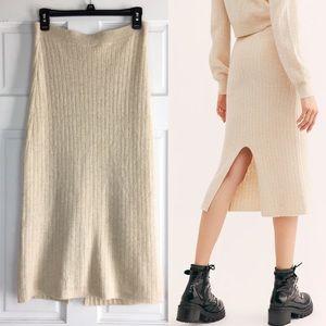 New Free People Cashmere Skyline Midi Skirt Cream
